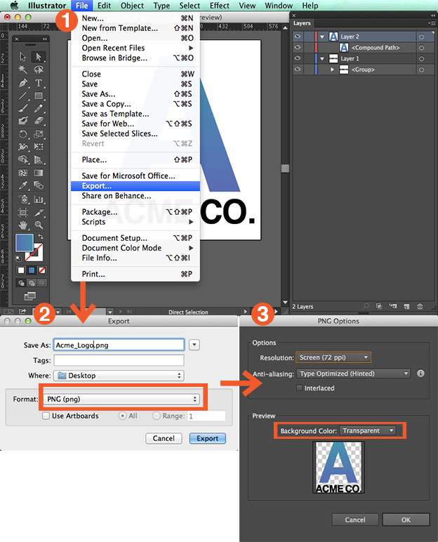 How to create PNG files of your logo in Illustrator - 99designs