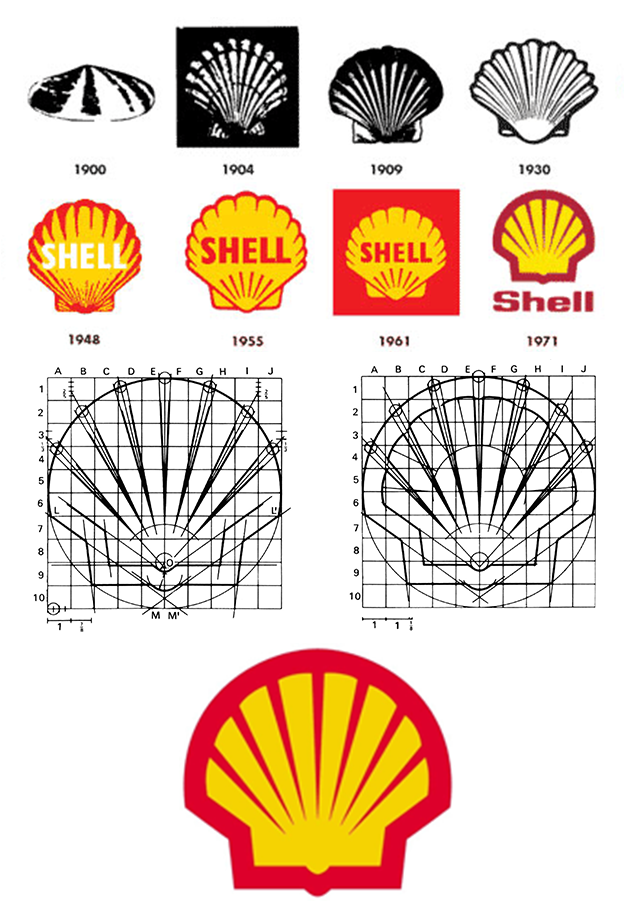 Shell logo process sketch