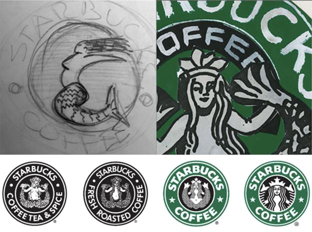 Starbucks logo process sketch