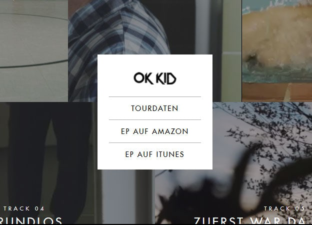 Great navigation menu: OK Kid
