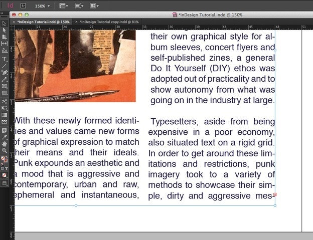 Using text in Adobe Indesign: Linking