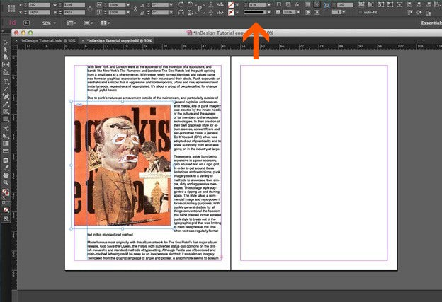 Using text in Adobe Indesign: Border