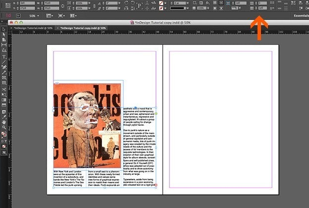 Using text in Adobe Indesign: Columns