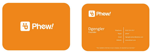 Visitenkarten Design für Phew!