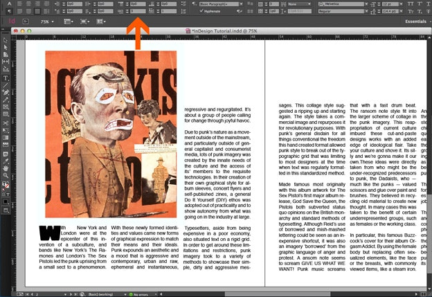 Using text in Adobe Indesign: Drop-Cap