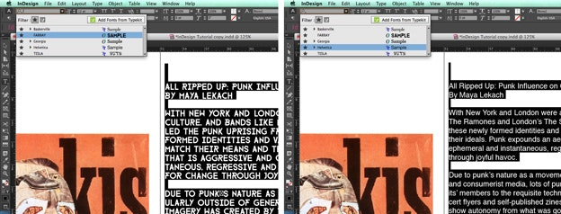 Using text in Adobe Indesign: Scrolling