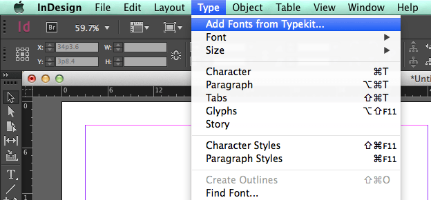 Using text in Adobe Indesign: Typekit