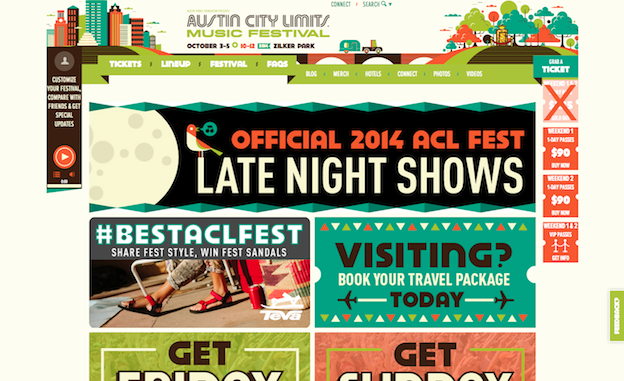 Web design for Austin City Limits
