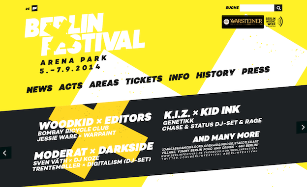 Web design for Berlin Festival