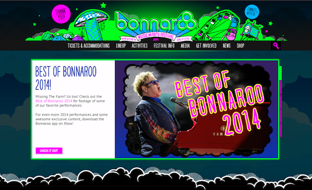 Web design for Bonnaroo