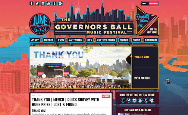 Web design for Governors Ball