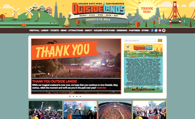 Web design for Outsidelands