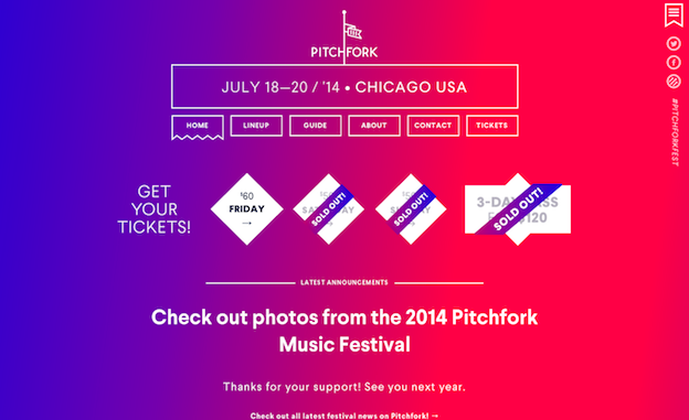 Web design for Pitchfork