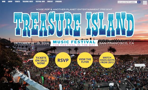 Web design for Treasure Island