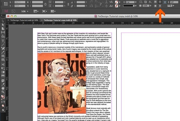Using text in Adobe Indesign: Wrap Text