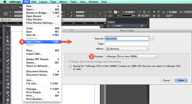 How to downsave Illustrator and InDesign files - 99designs