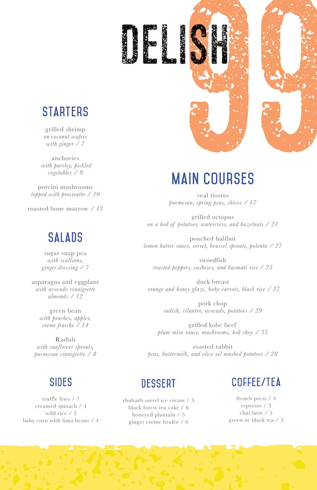one page menu design