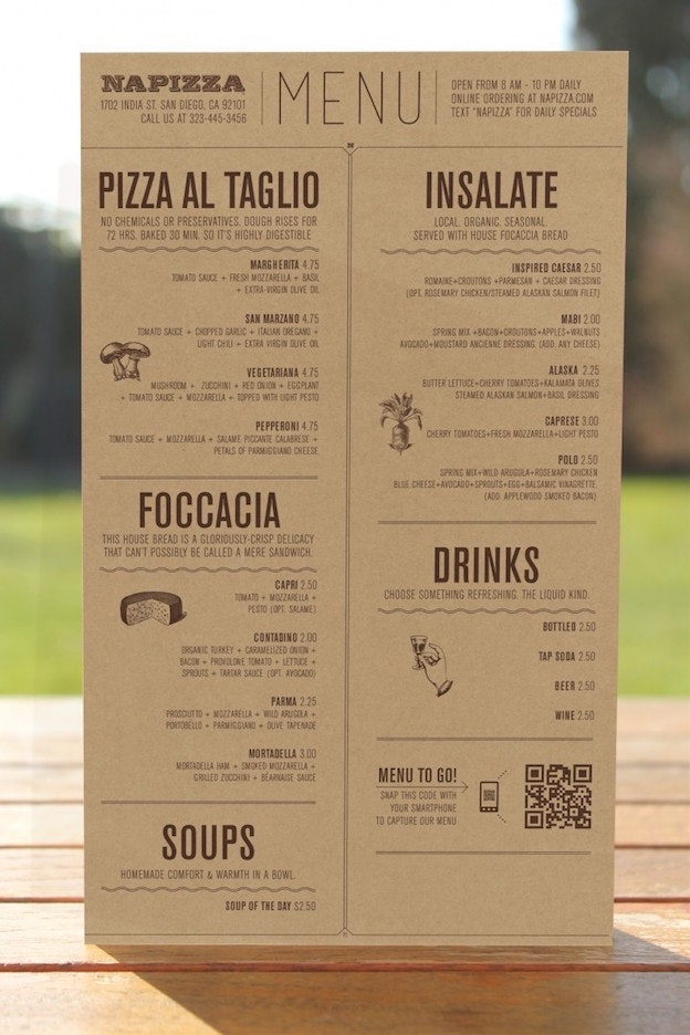 Napizza menu design