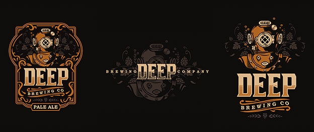 Deep Brewing Beer Logo Design