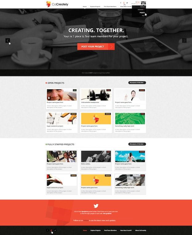 Landing Page für CoCreately