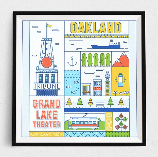 Affiche réalisée par Molecula pour le concours de poster Oakland
