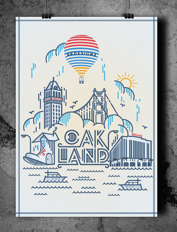 Affiche réalisée par Anirudh J pour le concours de poster Oakland