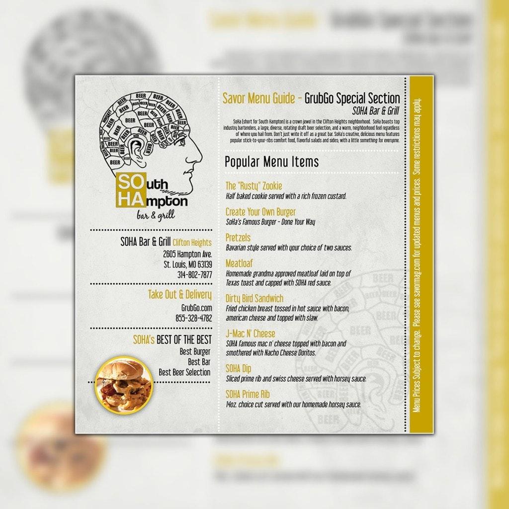 SOHA menu