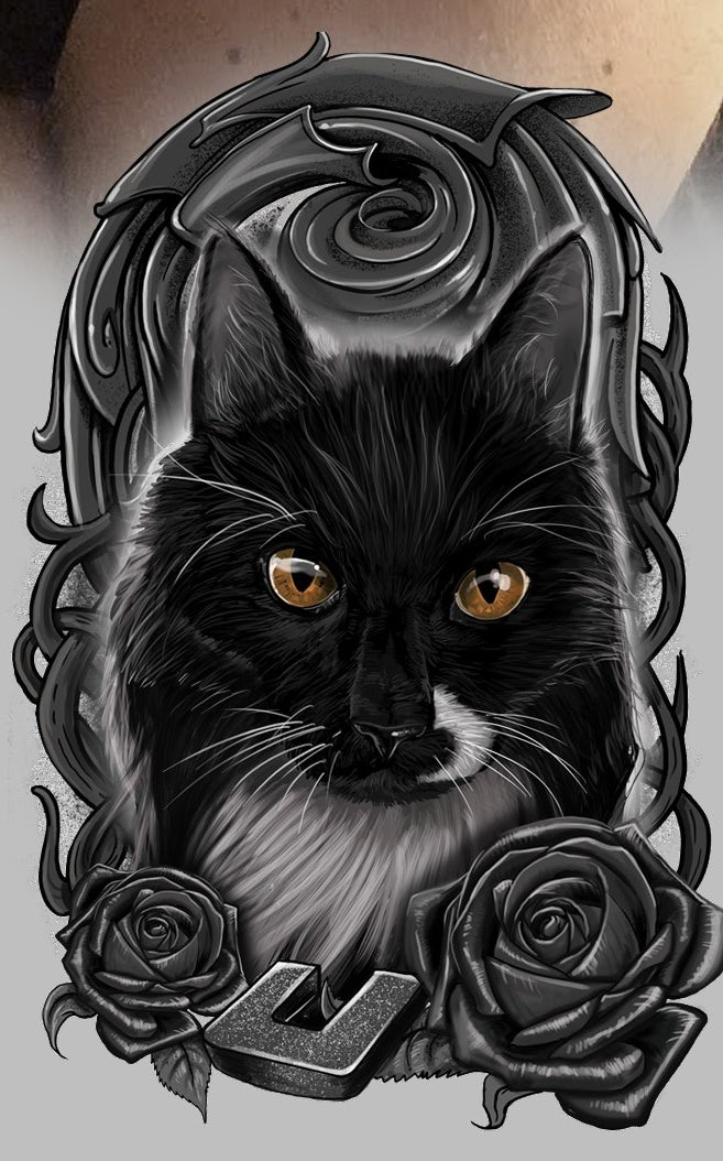 realistic tattoo design withrealistic tattoo design with cat portrait