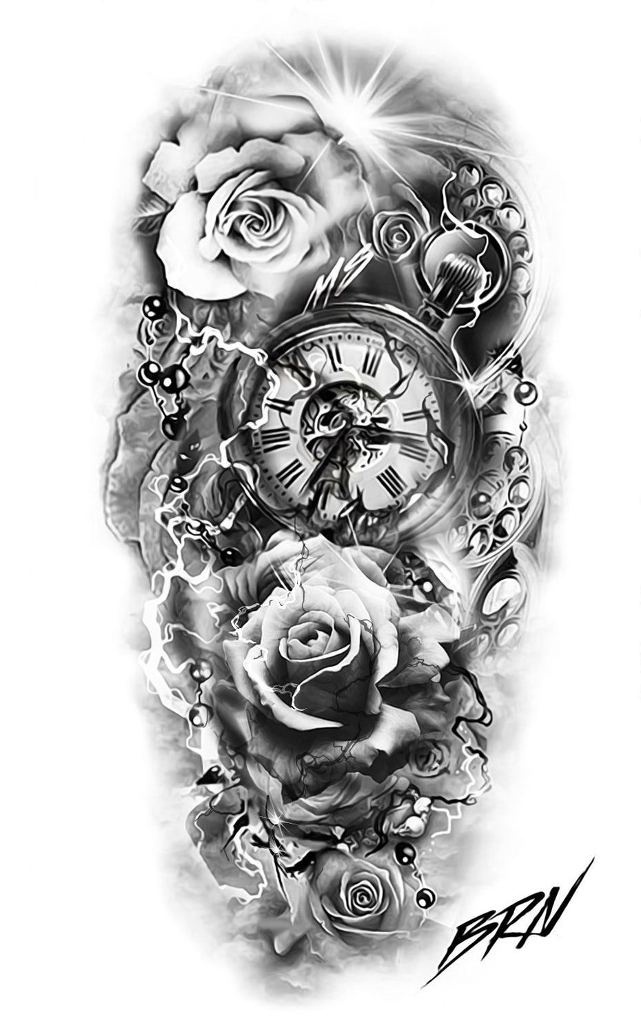 realistic tattoo design with pocket watch and roses