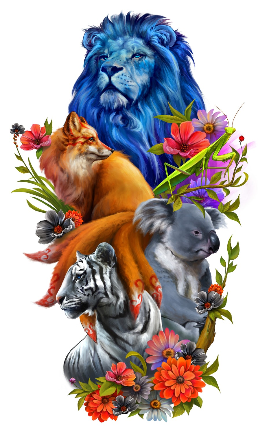 realistic tattoo design with animals