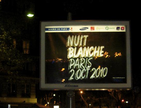 Poster de la nuit blanche 2010