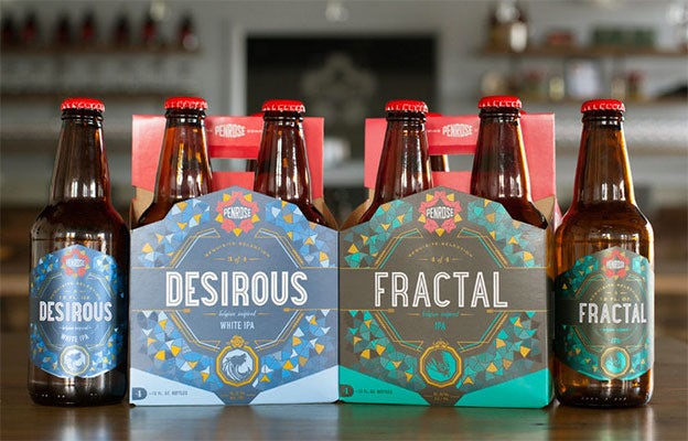 Penrose Brewing geometric beer packing