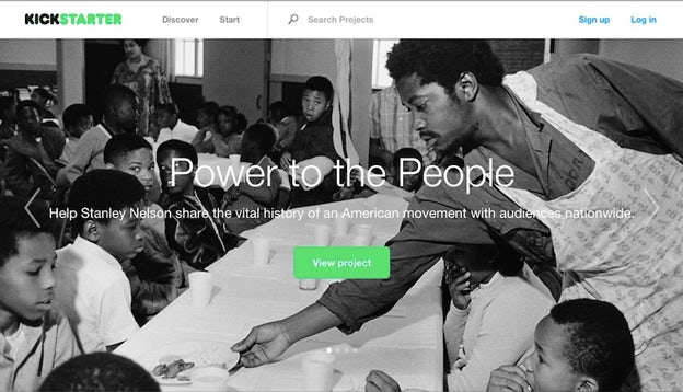 Homepage von Kickstarter.com