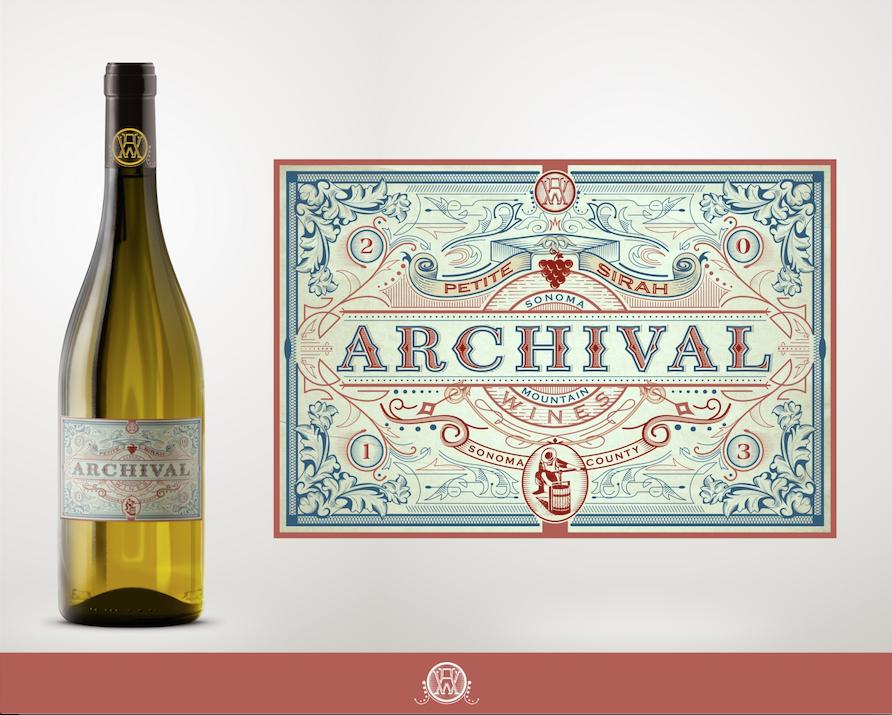 étiquette du vin archival