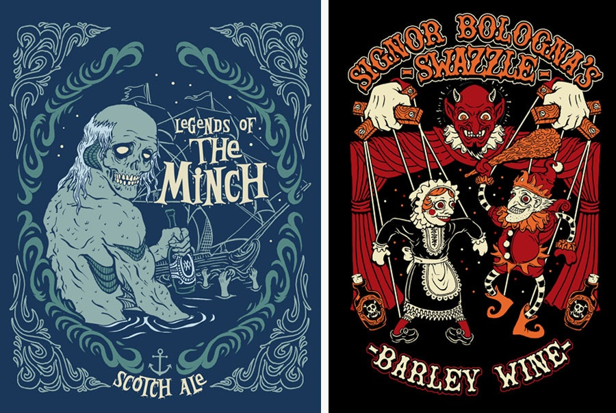 beer labels by horror rudey