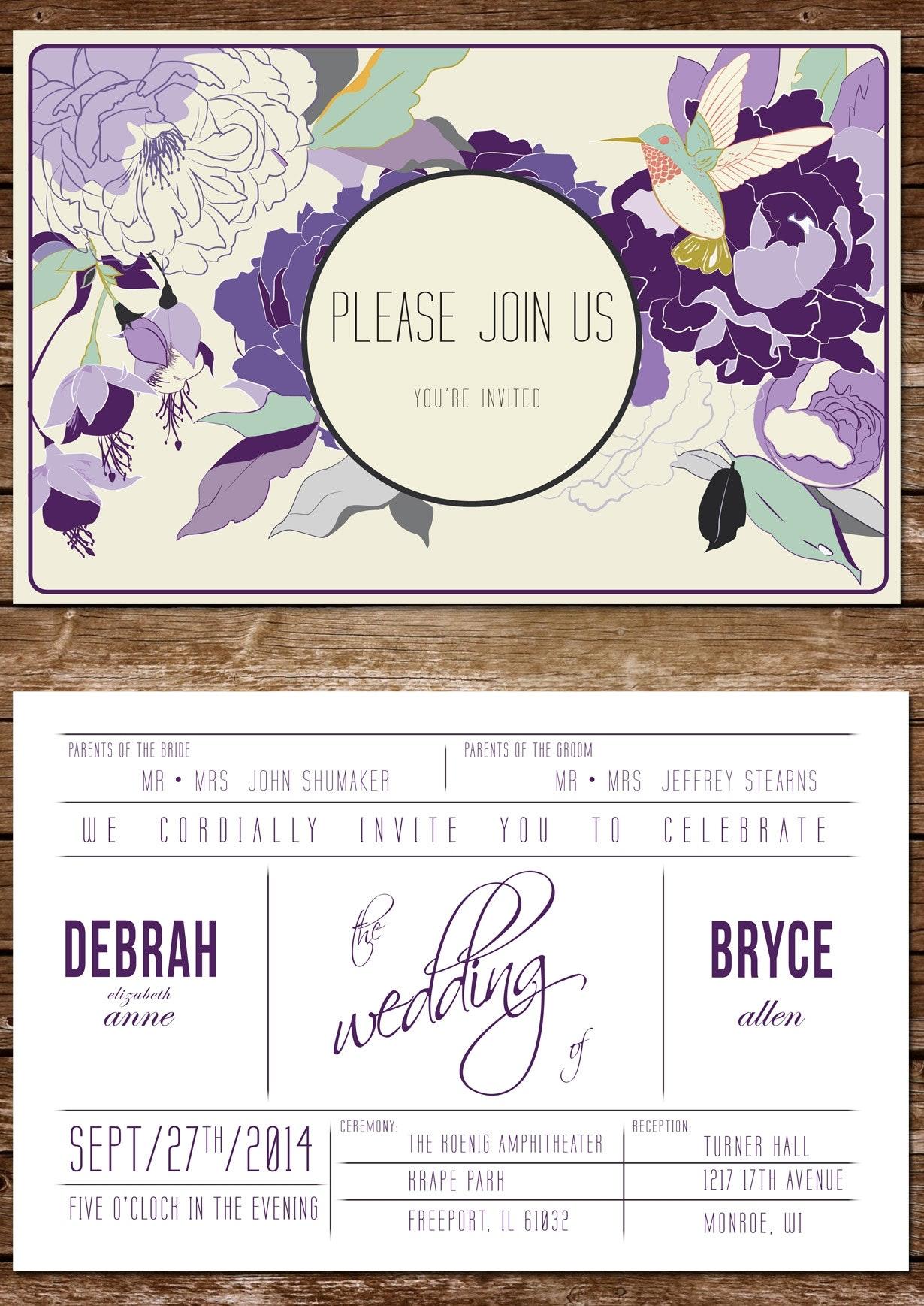 18 violette einladung floral