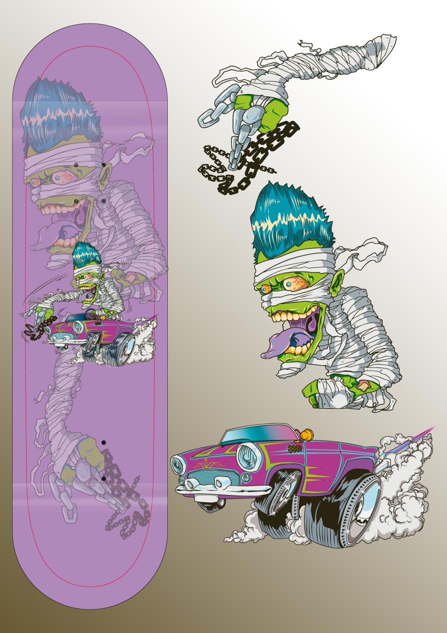 32 monster skateboard design