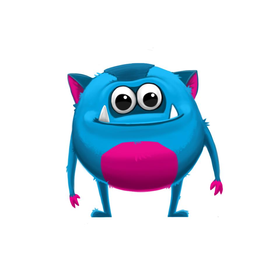 8 blaues monster design
