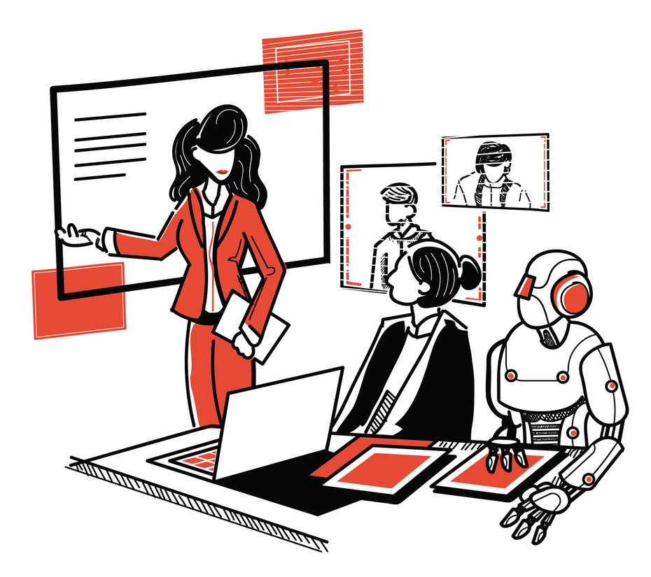 illustration of woman presenting information to robot