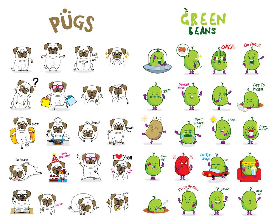 9 sticker tiere
