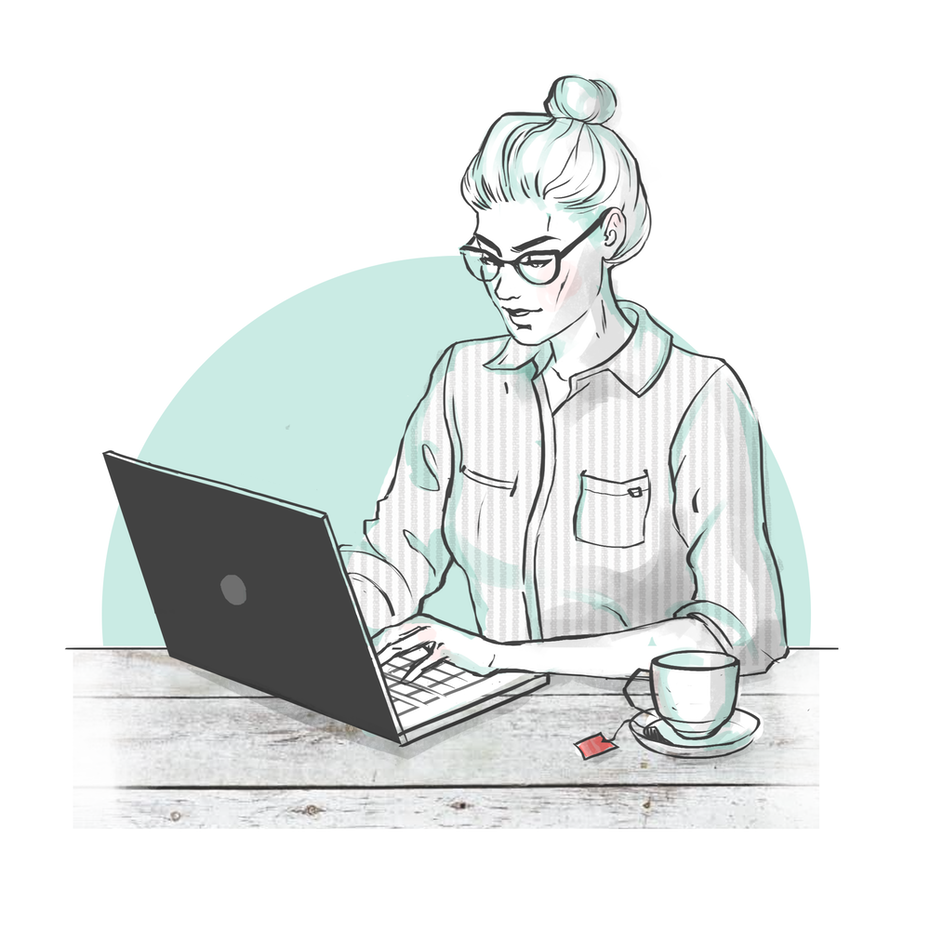 woman working at laptop with cup of tea next to her