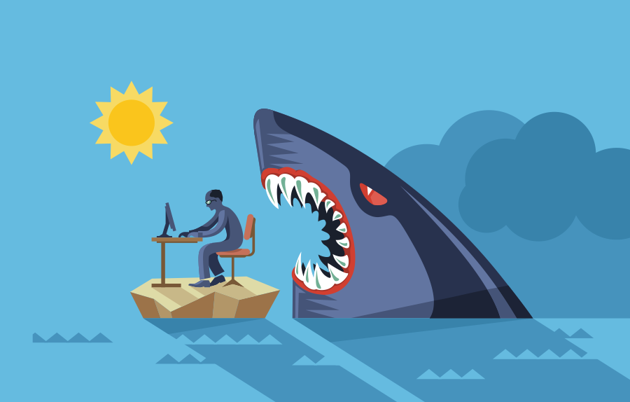 illustration of man working at desk on island with shark behind him
