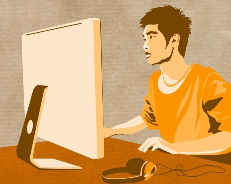 illustration eines mannes vorm bildschirm mit kopfhörern