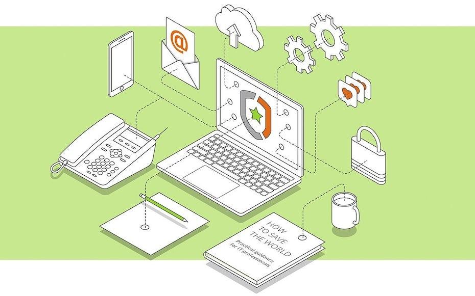 """isometrische """"arbeiten von zu hause"""" Illustration mit laptop, email, papier und telefon durch linien verbunden"""