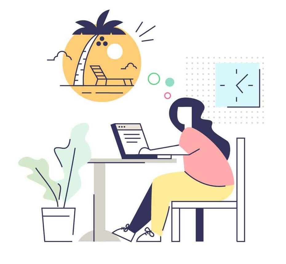 Illustration of woman working at desk with thought bubble