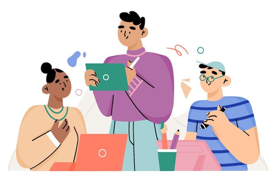 illustration von leuten, die gemeinsam arbeiten
