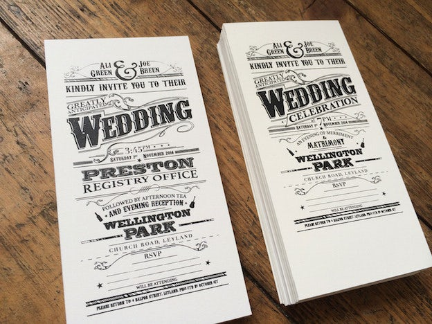 Screen printed Victorian-style wedding invitations
