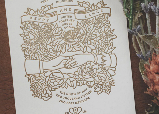 Letterpressed Victorian-style wedding invites