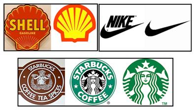 Les exemples de refonte de logo de Shell, Nike Startbucks