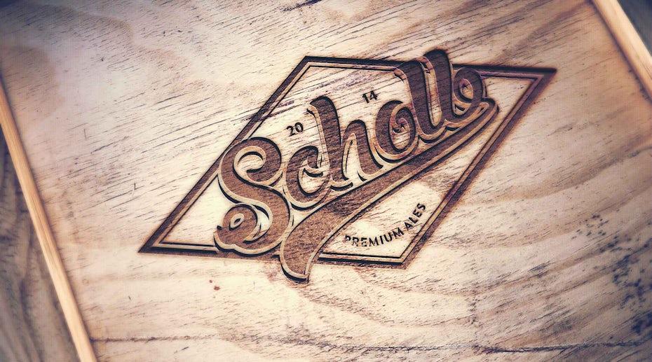 32 logo auf holz